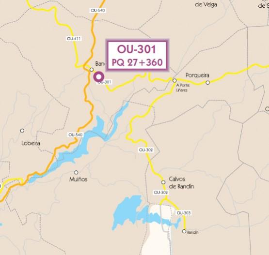 Punto concreto da estrada OU-301 no que se vai actuar