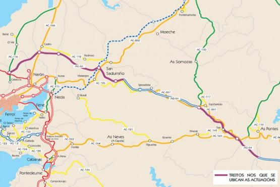 Plano da autovía afectada polas obras