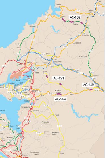 Mapa da estrada entre Cabanas e As Pontes (AC-564)