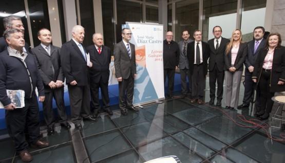 Alonso Montero xuno co Conselleiro de Educación, Xesus Vázquez e outras persoalidades, na presentación da programacion do Día das Letras Galegas 2014