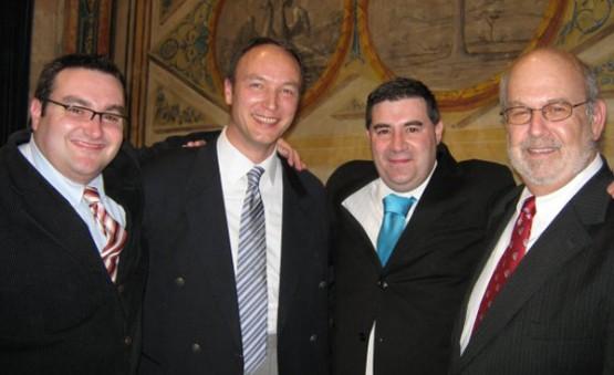 Miguel Anxo Bastos con Eduardo Fernández Luíña, Jorg-Guido Hulsmann e Lew Rockwell