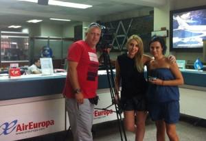Carmen coa súa irmán Luz e un compañeiro cámara arxentino, Fernando Standke en Bos Aires preto de Fin de Ano