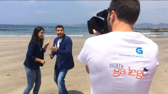 David Noya e Marta Doviro durante a gravación de Máis Galego