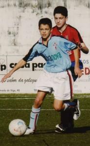 Joselu nas categorías bases do Celta, onde comezou a súa carreira profesional