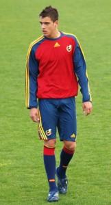 Joselu nos adestramentos coa selección. Xogou coa Sub 18, a Sub 19 e a Sub 21