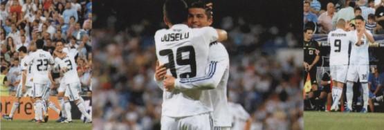 Joselu no partido do seu debut no Bernabeu, celebrando o gol con Cristiano Ronaldo