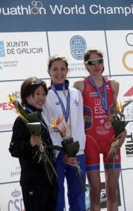 Podio feminino Sub23, coa española Miriam Casillas en terceira posición