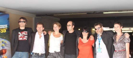 """Araceli na presentación de """"18 Comidas"""" no Festival de Taormina, en Sicilia. Con Jorge Coira e Luis Tosar entre outros membros do equipo"""
