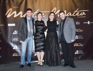 Araceli na gala dos Mestre Mateo con Jorge Coira, Chelo Loureiro e Jorge Mira