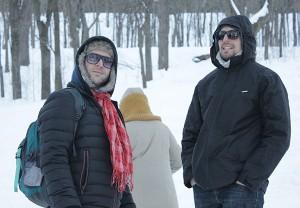 Cándido e Antoine, nun dos días de frío do inverno en Canadá