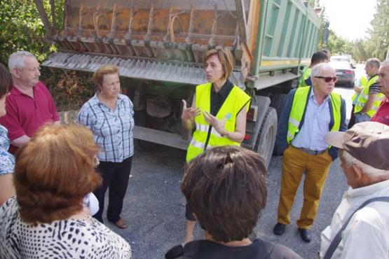 Raquel Arias na visita ás obras na Fonsagrada