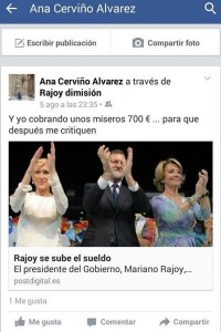 Post na conta de Ana Cerviño