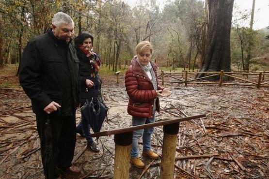 Ana María Díaz comprobando os traballos de conservación