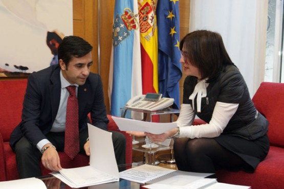 Rey Varela na reunión coa alcaldesa de Oímbra