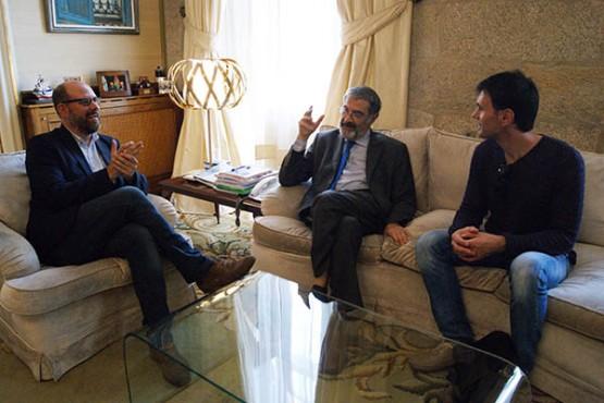 Martiño Noriega con Serge Haroche e Jorge Mira
