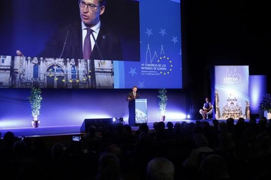 Intervención de Feijóo no IV Congreso dos Notarios de Europa. Foto: X. Crespo