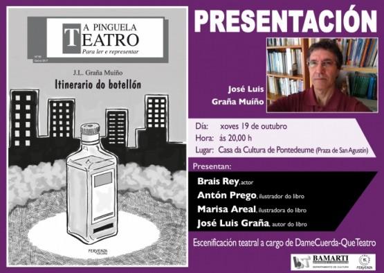 """José Luis Graña Muíño presenta en Pontedeume o libro """"Itinerario do botellón"""""""