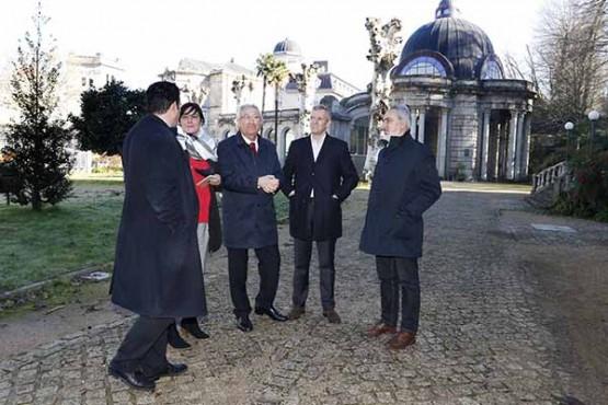Alfonso Rueda na visita ao Concello de Mondariz-Balneario