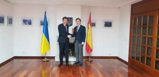 Jesús Gamallo na reunión co embaixador de Ucraína en España