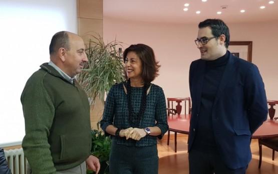 Marisol Díaz Mouteira na reunión co novo presidente dos empresarios do polígono San Cibrao das Viñas