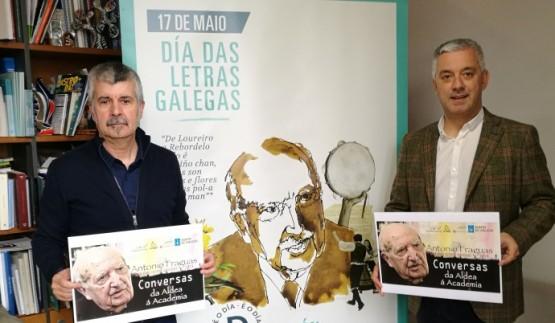 Valentín García na presentación dos 12 vídeos de conversas con Antonio Fraguas