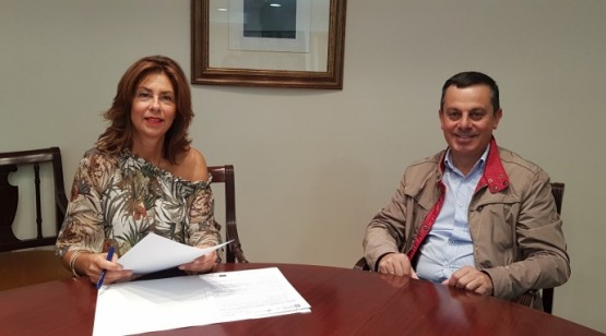 Marisol Díaz Mouteira na reunión co alcalde de Piñor