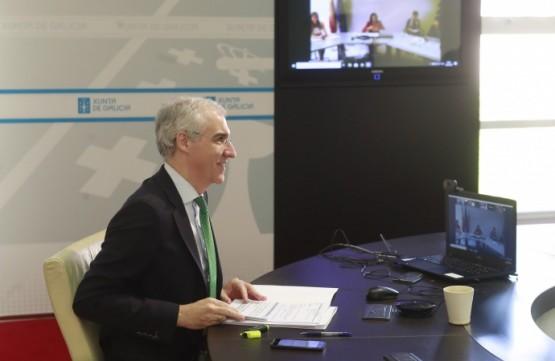 O conselleiro Francisco Conde en videoconferencia